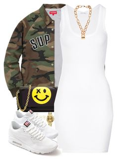 """""""I will not hurt your feelings"""" by hosana-tsarnaev ❤ liked on Polyvore featuring Thomas Blakk, Charlotte Russe, Rolex, American Vintage, NIKE, Moschino, nike and supreme"""