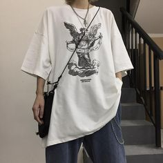 Angel letter printing black white oversized t-shirt в 2019 г Edgy Outfits, Korean Outfits, Mode Outfits, Retro Outfits, Cute Casual Outfits, Grunge Outfits, Girl Outfits, Fashion Outfits, Sport Outfits