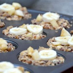 Apple Banana Quinoa Breakfast Cups Recipe Breakfast and Brunch with applesauce, mashed banana, bananas, cooked quinoa, old-fashioned oats, almond milk, honey, vanilla extract, cinnamon, apples
