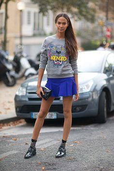 Joan Smalls in Kenzo sweatshirt Street Style Paris Fashion Week Spring 2014   #PFW #pfw2013