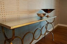 Ora Penn design featured Rivets 5709 Copper on Elephant Manila Hemp in the dining room of a client's home.