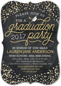 Celebratory Confetti - Graduation Invitations in Polenta | Sarah Hawkins Designs