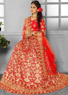 Beauteous Beige and Red Bridal Wear Lehenga Choli
