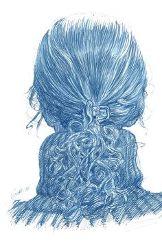 Woman who sat in front of me on my commuter train into NYC.. Ballpoint pen. —Karl Gude
