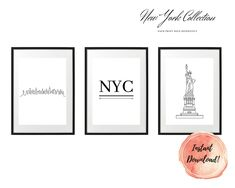 ART PRINT   City Collection   Art Print Sets   Digital Download or Physical Print   B&W, New York, NYC   Wall Art   Home Décor White Art, Black And White, Group Art, Nyc, Decoration, Digital Art, New York, Collections, Art Prints
