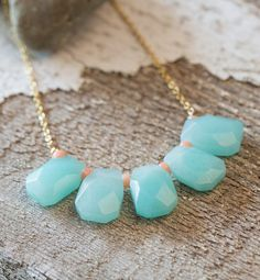 Aqua Bib Statement Necklace in Gold with Peach Beads.