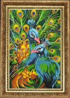 Peacocks Elegant beaded embroidey DIY kit Unique Wall Art room decor