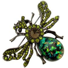 Acosta Brooches - Olive Green Crystal & Foil Stone - Vintage Inspired Flying Insect Brooch Acosta Jewellery. $29.99