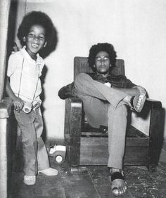 BOB MARLEY with son ZIGGY...hey ziggy, your zippers down...love this pic