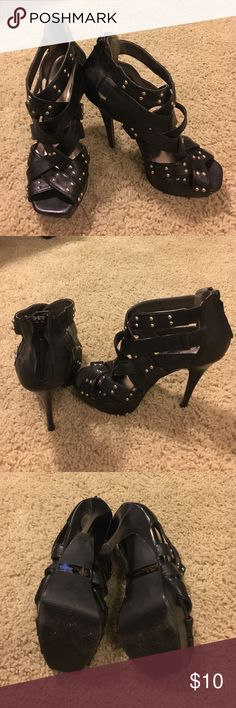"""Black studded heels Super comfy faux leather black heels with silver studded embellishments. 4"""" heel with a 1"""" platform. Worn once. From a smoke free home. Charlotte Russe Shoes Heels"""