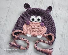 Crochet Hippo Baby Hat | AllFreeCrochet.com