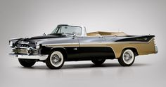 One-of-none 1956 De Soto Adventurer convertible. This was custom built by a owner. De Soto did not offer a convertible until the following year.