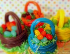 Easter Baskets made with twizzlers, jelly beans and shredded coconut by Cupcake Wishes & Birthday Dreams