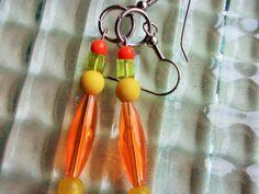 Orange Bead Earrings Yellow Green Bead by mscenna on Etsy, $8.00