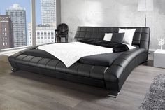 Designer Doppelbett SOHO 180x200cm schwarz Kunstleder Bett  bei Riess Ambiente