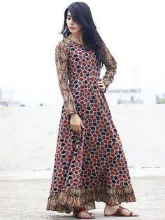 Kashish Maroon Black Beige Ajrakh Block Printed Long Cotton Dress With Gathers - Cotton Long Dress, Cotton Dresses, Long Dresses, Buy Dresses Online, Maxi Gowns, Asymmetrical Dress, Indian Wear, New Dress, Designer Dresses