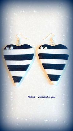 Orecchini in #fimo handmade marinari a righe bianco blu idea regalo , by Chiara - Creazioni in fimo, 7,00 € su misshobby.com