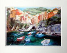 Riomaggiore Giclee Print- A4 Quality Mounted Giclee Print of Riomaggiore - by Artist Suzie Nichols