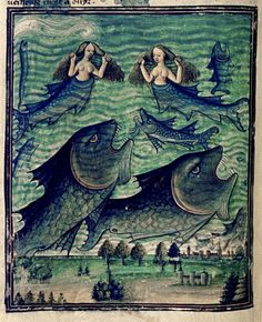 'Mermaids-sirens-monster fish' (c.1450-70) from French Manuscript Douce 134. Collection: Bodelian Library, Oxford. via Tony Harrison on flickr