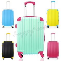 Hard shell 4 Wheels Trolley ABS Luggage Suitcase Cabin Travel bag Luggage Tags in Home, Furniture & DIY, Luggage & Travel Accessories, Luggage | eBay!