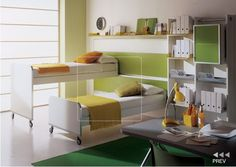 Kids Room: Kids Bed Room With Sets For Boys Or Girl Shows Kids Study Table Shelves And Other Green Furniture Green Rugs White Bed And Green Pillows: Modern Kids Bedroom Design Ideas by Mariani Ikea Bunk Bed, Bunk Beds Small Room, Bunk Beds For Girls Room, Kids Bunk Beds, Small Rooms, Kids Rooms, Small Beds, Trundle Beds, Kid Bedrooms