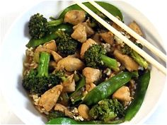 Bourbon Chicken and Vegetable Stir-Fry  Weight Watchers (old points) 7  Weight Watchers POINTS PLUS 9    SKINNY FACTS: for each serving including brown rice  367 calories, 5.5g fat, 29g protein, 52g carbs, 6g fiber, 682 mg sodium, 20g sugar  FAT FACTS: for each serving including white rice  726 calories, 25g fat, 54g protein, 96g carbs, 1g fiber, 2,155 mg sodium,21g sugar