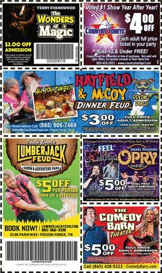Get discounts on shows, attractions and more in Pigeon Forge and Gatlinburg, TN. Gatlinburg Coupons, All Coupons, Mountain Vacations, Pigeon Forge, Discount Coupons, Mountains, Mom, Places, Bergen