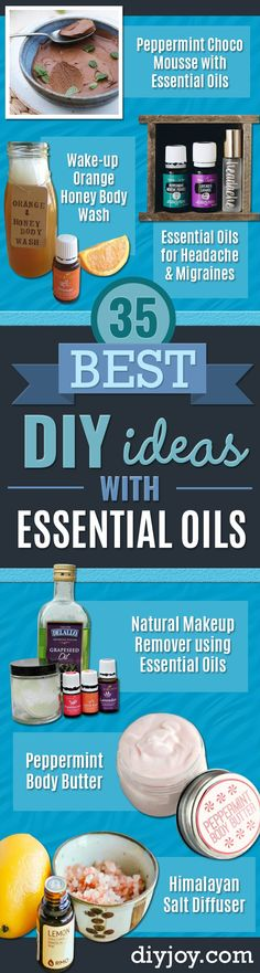 DIY Essential Oil Recipes and Ideas - Cool Recipes, Crafts and Home Decor to Make With Essential Oil - Diffuser Projects, Roll On Prodicts for Skin - Recipe Tutorials for Cleaning, Colds, For Sleep, For Hair, For Paint, For Weight Loss #essentialoils #diy Essential Oils For Migraines, Natural Essential Oils, Natural Oils, Oil For Headache, Natural Makeup Remover, Diy And Crafts Sewing, Ground Turkey Recipes, Skin Food, Peppermint