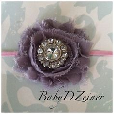 @Amber Wyatt Chiffon rosette headband one gray rosette on pink by BabyDZeiner, $5.99