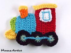 Crochet Applique Embellishments train Love it! Caught my eye immediately
