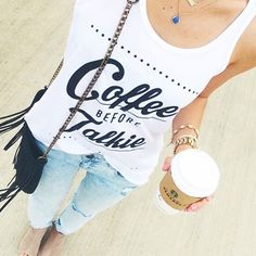 "We are coffee lovers here at Katydid and we are celebrating National Coffee Day and offering this women's ""Coffee Before Talkie"" tank top for only $24.95 for a LIMITED TIME ONLY!  Tank is super soft, available in sizes S - XXL and fits true to size.  No returns/exchanges on Facebook sales.  All sales final.  Photo courtesy of livvylandblog. 