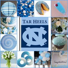 I always think of grad parties as themed for the high school but I like the idea of the theme being for where they are off to. Graduation Party Themes, College Graduation Parties, Party Themes For Boys, Graduation Decorations, Grad Parties, Graduation Open Houses, Thing 1, University Of North Carolina, Carolina Blue