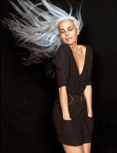 Yasmina Rossi - this beautiful woman is my inspiration to finally stop putting poison dye into my body and letting my long hair go grey naturally. She is nearly 60 years old and looks farking stunning. Not saying that I will end up looking like her! lol but I'm hoping long grey hair will look just as good on me :)