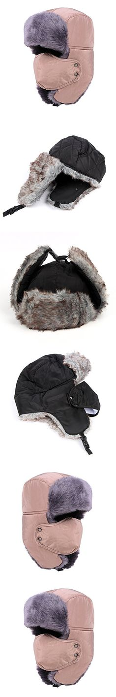 Qunson Mens Womens Faux Fur Russian Bomber Trapper Hat with Ear Flaps