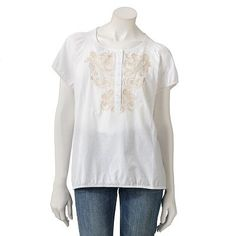 Croft and Barrow Embroidered Smocked Henley