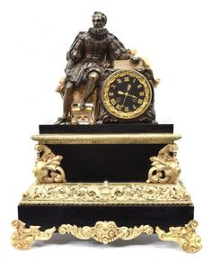 FRENCH GILT BRONZE FIGURAL MANTLE CLOCK : Lot 1171