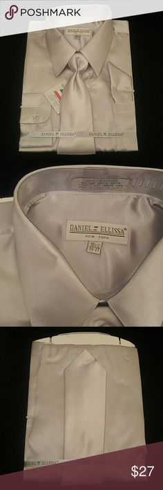 MEN'S DRESS SHIRT SILVER COMBO PACK BY DANIEL ELLI Combination shirt, tie, pocket square. Regular fit. Brand:DANIEL ELLISSA Style:DS3012 NP2 Silver Material:100% polyester satin rayon New in the bag      This shirt can be SPECIAL ORDERED in your size through Poshmark. Email me @shirtman48 for details. DANIEL ELLISSA Shirts Dress Shirts