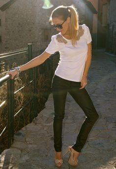 Loving my Loubies!  , Christian Louboutin in Heels / Wedges, Zara  in Pants, Zara  in T Shirts, Armani in Glasses / Sunglasses, Uno de 50 in Jewelry