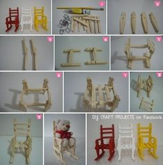 rocking chair from clothes pins Popsicle Crafts, Craft Stick Crafts, Crafts To Do, Diy Craft Projects, Crafts For Kids, Doll Crafts, Wooden Clothespin Crafts, Christmas Craft Fair, Child Doll