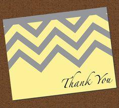 Printable Gray and Yellow Chevron Thank You Card by TuesdaysRoses, $7.00