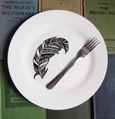 Feather Dinner Plate  Hand Drawn Black and White by Gx2homegrown, £12.00