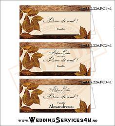 Place Card, Meniu, Nr. Masa   Model IG226-v1 http://invitatii-marturii.weddingservices4u.ro/place-card-meniu-nr-masa-model-ig226-v1/  Tematica de Toamna