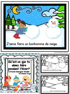 """This emergent reader in French teaches students all about popular winter activities using the expression """"J'aime. Winter Activities, Preschool Activities, Reading Activities, Daycare Themes, French For Beginners, Chore Chart Kids, Core French, French Resources, French Immersion"""