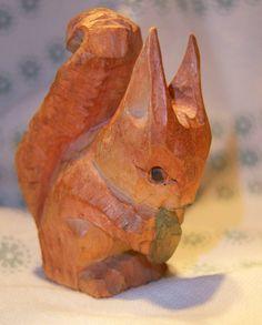 Vintage Folk Art Handcarved Wooden Squirrel Nutkin. $28,00, via Etsy.
