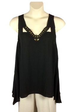 0bd0d32c50eed Womens Rock  amp  Republic Black Blouse Plus Size 2X Sleeveless Bronze  Color Beading  RockRepublic