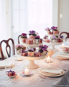 adorable arrangement on a cake stand