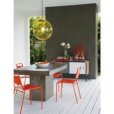 everything's neutral, but you can easily switch out the chairs to get different pops of color – fuze dining table in dining tables | CB2