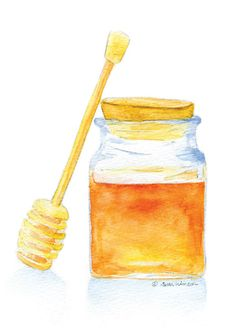 Honey Jar is a giclée print of my original watercolor painting. Measures 5 x 7. (portrait/vertical orientation) Printed on 260 g/m2 fine art paper