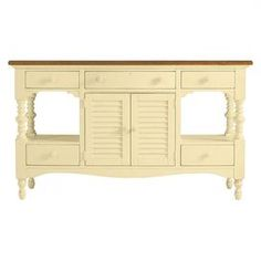Weathered hardwood buffet with louvered cabinet doors and turned detail.   Product: BuffetConstruction Material: Select hardwoodsColor: Lemon twistFeatures: Five drawers and two doorsDimensions: 39.81 H x 68.06 W x 19 D
