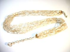 multi strand silk necklace in glass ribbed beads jewelry by Rs4U